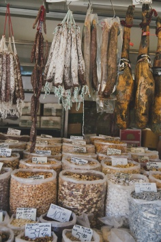 Monday morning market for breakfast and hiking supplies - saucisson and cheese